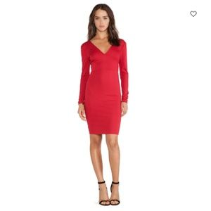Alice + Olivia Fiona Dress in Royal Red Double V